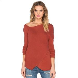 Free People Asymmetrical Burnt Orange Sweater Larg